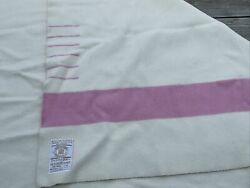 Vintage Hudson Bay 100 Wool 6-point Blanket White And Pink 90x100
