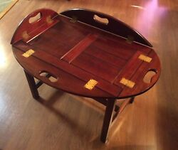 Vintage Bombay Company Butler Tray With Stand Fold Up Side Handles Wooden Table
