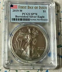 2019-w Burnished Silver Eagle First Day Issue Graded By Pcgs Sp-70 Flag Lavel.