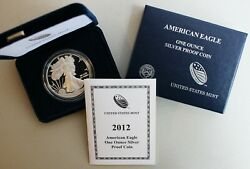 2012 W American Silver Eagle Proof Dollar Us Mint Ase Coin With Box And Coa