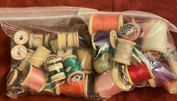Wooden Thread Spools Antique From Early 1900s Jandp Coats, Belding Corticelli, Etc
