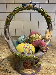 Jim Shore Welcome The Art Of Easter 4035131 Basket With 4 Eggs 2012 Retired