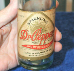 Rare Straight Side Paper Label Dr. Pepper Bottle Rock Island Ill. Nice