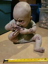 Zombie Baby Halloween Prop Spirit Eating Chewing Biting Foot Bloody Scary