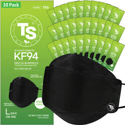 【 30 Pack 】 Black Kf94 Face Mask Ts Guard Safety Mask Made In Korea