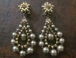 Rare Vintage Statement Jose And Maria Barrera Pearl Stone Drop Chandelier Earrings