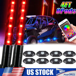 2x 4ft Rgb Led Whip Light Antenna W/ 8 Pods Rock Lights For Polaris Rzr Off Road