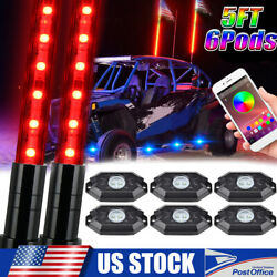2x 5ft Lighted Rgb Led Whip Antenna W/ Flag For Polaris Rzr And 6 Pods Rock Lights