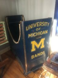 Vintage University Of Michigan Football Marching Band Bass Drum Cart - Only One