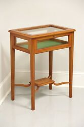 Vintage 20th Century Yew Wood Accent Table W/ Display Case