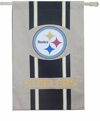 Pittsburgh Steelers Burlap House Flag 28 X 44 - Banner High Quality