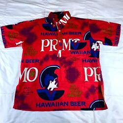 Vintage Hawaiian Holiday Sportswear Primo Beer Red 1/2 Button Down Shirt Size M