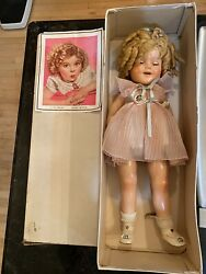 """Shirley Temple Exc Compo 22 """" Doll W/tagged Dress In Original Box By Ideal Exc"""