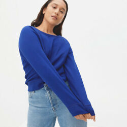 Everlane Blue French Terry Crew Neck Sweatshirt Size Small