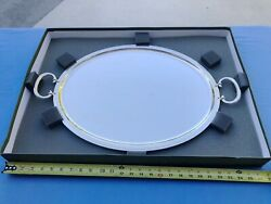 French Christofle Albi Silverplate Large Oval Serving Tray With Handles New