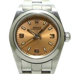 Auth Rolex Oyster Perpetual 76080 Pink Ss A394386 Women Wrist Watch
