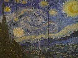 Starry Night By Vincent Van Gogh Triptych Oil Painting Reproduction On Canvas