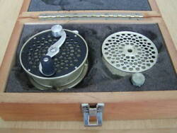 Vintage Winston 5 6 Fly Reel Fishing With Spare Spool Oil Bottle Wooden Box
