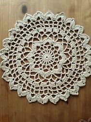 New Round Beige Crochet Doily Handmade Christmas Gift Easter Cottage Rustic
