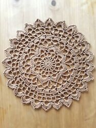 New Round Brown Crochet Doily Handmade Christmas Gift Easter Cottage Rustic