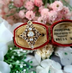 Antique Victorian 14ct Rose Gold Ornate Diamond Navette Cluster Ring / Size O