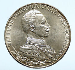 1913 A Germany German States Prussia Wilhelm Ii Antique Silver 3mark Coin I95900