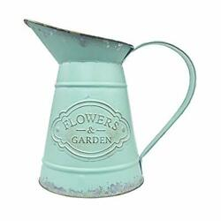 Shabby Chic Metal Vase Pitcher Flower Holder Green French Style Rustic Farmhouse
