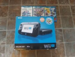 Nintendo Wii U 32gb Black Console Deluxe Set - Wup-10102 Kids Lot Tested