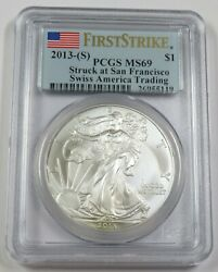 2013-s Pcgs Ms69 Swiss American 1 Oz Silver Eagle Dollar 1 Us Coin Item 29192a