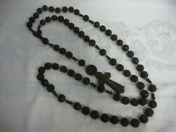 Huge Antique French Carved Wood Rosary Beads