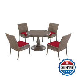Windsor 5-piece Brown Wicker Round Outdoor Patio Dining Set With Cushionguard Ch