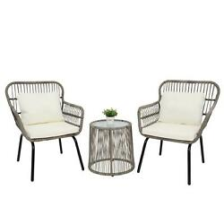 3 Pcs Bistro Patio Set Glass Table And Wicker Chairs Seat W/ Seat Back Cushions