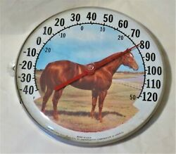 Vintage Horse Farm Ohio Thermometer Co. 12 Jumbo Dial Thermometer Works