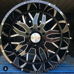 4new 22x14 Axe Compression Forged 1.0 Black Milled Wheels 8x180 Chevy Gmc