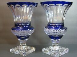 Vtg Faberge Empire Signed Crystal Pair Of12 Vases Cobalt Blue Cut To Clear Mint