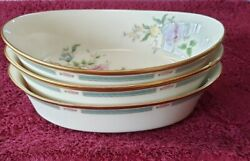 Lot Of 3 Lenox China Morning Blossom 10 1/8 Oval Vegetable Serving Dish/bowls