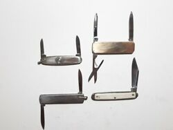 Lot Of 4 Unknown Brand Small Pocket Gentlemens Knives Used Stainless Usa