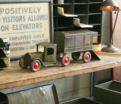 Vtg Antique Structo Airport Mail Truck Depression Era Pressed Steel Toy 1920and039s