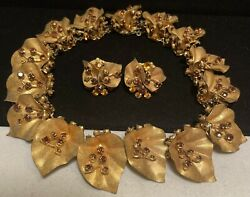 Miriam Haskell Set Rare Vintage Signed Gilt Amber R/s Collar Necklace Earrings