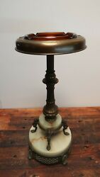 Vintage Art Deco Brass And Onyx Ashtray Stand With Amber Glass Ashtray H26