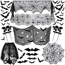 41pcs Halloween Decorations Indoor Spider Web Lace Mantel Scarf
