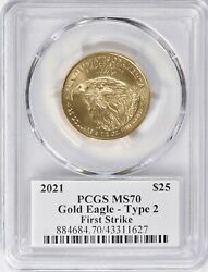 2021 25 First Strike Type 2 American Gold Eagle 1/2oz Pcgs Ms70