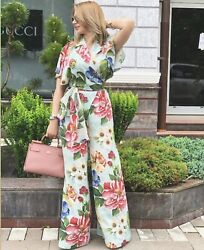 Dolce And Gabbana Floral Print Silk Wide Leg Jumpsuit In Hc1am Blue Floral