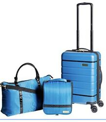 Samantha Brown 3-piece Hardside Spinner, Satchel And Cosmetic Case Teal