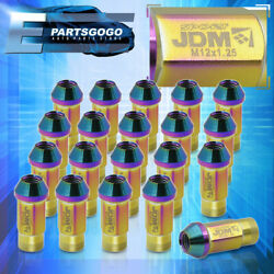 M12x1.25mm Jdm Tuner Racing Wheel Rims Lug Nut 20 Pieces Anodized Multicolored