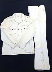 Sta-prest Big E Black And Gold Label Pants And Jacket White Flared Studded