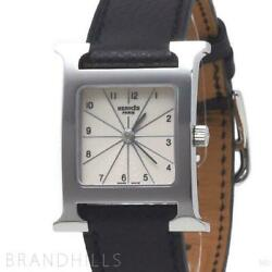 Hermes H Hh1.210 Quartz Stainless Steel Leather Ivory Dial Ladies Watch [u0917]