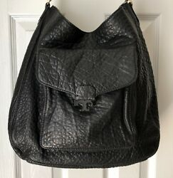 Tory Burch Black Grained Leather Shoulder Hobo Bag Very Good Condition $155.00
