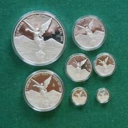 2020 Mexico Libertad 7 Coins Silver Set 1/20 1/10 1/4 1/2 1 2 And 5 Oz Proof