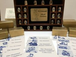 Set Of 20 Hummel School Children Gold Plated Thimble Collection W/display Andcards
